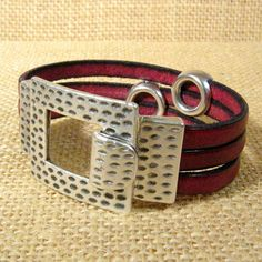 Bordeaux 15mm Flat Leather Cuff Bracelet by ThunderMoonGallery, $25.00