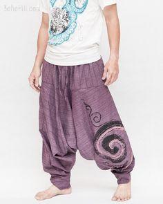 Baggy Harem Pants Textured Cotton Swirl Paint Unisex Aladdin Pants (Purple)