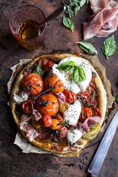 Quick Balsamic Fig Roasted Tomato and Burrata Cheese Tarts | halfbakedharvest.com @hbharvest