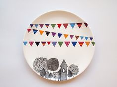 Village Wall Plate by ZuppaAtelier on Etsy