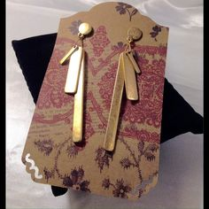Worn look style Gold Long Earrings These pretty Boho theme earrings feature three different size bars. Not heavy. Sturdy metal. (This closet does not trade or use PayPal) Son Paises Jewelry Earrings