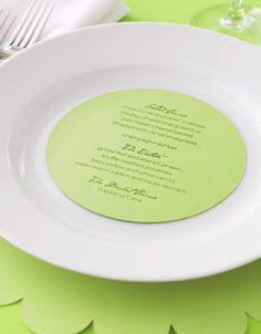 Saving Money: Wedding Receptions Under $10,000 -- Seated Dinner: $10,000    Again, we personalized with inexpensive touches. Here, menu cards are done on a computer.    Menu card, Jean M, myjeanm.com; place mat, Table Toss, tabletoss.com.