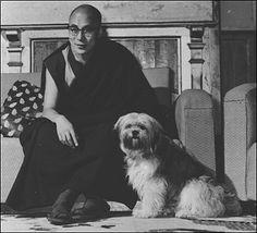 """the dalai lama with his tibetan terrier """"senge"""" in 1969"""