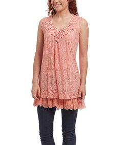 Look what I found on #zulily! Coral Ruffle Linen-Blend Tunic - Women #zulilyfinds