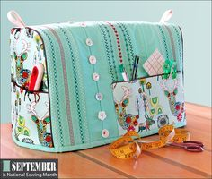 Sewing Machine Cover with Decorative Stitching Accents: It's National Sewing Month! | Sew4Home