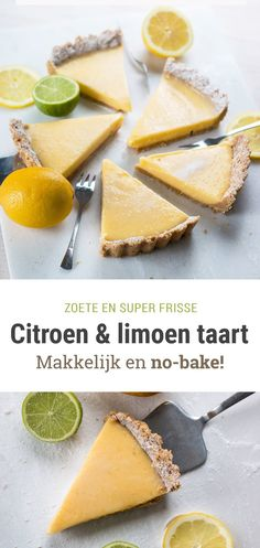 Fresh lemon & lime pie - an easy no-bake recipe!- Frisse citroen- & limoentaart – een makkelijk no-bake recept! fresh curd pie with lemon and lime! No Bake Desserts, Dessert Recipes, Lemond Curd, Baking Bad, Lime Cake, Easy Baking Recipes, Party Food And Drinks, Vegan Cake, I Love Food