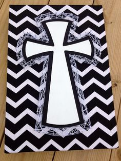 Black & White String Art Cross on Etsy, $29.00