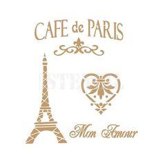 stencil deco vintage composición 001 cafe paris