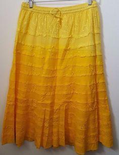 Laddz NWT Womans Light/Medium/Dark Yellow Embroidered Floral Skirt Size S/M/L/XL #Laddz #Skirt