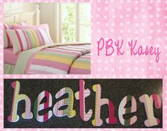 Hand Painted Children's Room Wall Letters M2M PBK Kasey Plaid www.funkyletterboutique.com