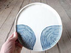 Handmade ceramic dinner plate waves Australian by MountainClay Ceramic Pottery, Ceramic Art, Clay Making, Pottery Shop, How To Make Clay, Handmade Ceramic, Dinner Plates, Safe Food, Dinnerware