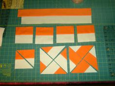 VROOMANS QUILTS: Squares to triangles with a rotary cutter makes pinwheels simple if you can sew a bunch of bias lines without stretching!