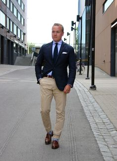 Navy sport coat, light blue shirt, navy tie, khakis