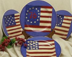 """Vintage Decorator Collectible Plates,Set of 4,Designed Exclusively for""""Brandon House"""" by Warren Kimble,by Sakura,Spirit of the Flag,#VB7015 by ckdesignsforyou. Explore more products on http://ckdesignsforyou.etsy.com"""