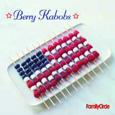 American Flag Berry Kabobs #july4th #summer #desserts #fruit #myplate