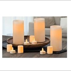New 11-Pack Flameless Led Candle Variety Pack Brand New 11-Pack Flameless Led Candle Variety Pack. Add Beauty & ambiance to any room in your home with these Flameless candles they look and feel like you would expert , without the name and danger of real candles. Set include: 3 Flameless real wax vanilla scented pillars. 4 Flameless wax covered unscented votives. 4 Flameless plastics unscented tea lights. 5 Duracell AA batteries. 8 CR 2032 lithium batteries. New in seal package. No trade…