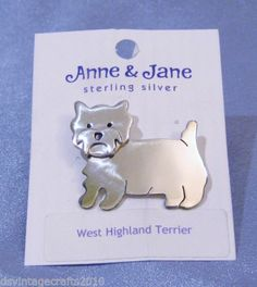 West Highland Terrier Brooch Pin Anne Jane Designs Sterling Silver 925