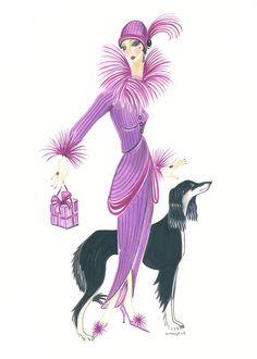 Art Deco Lady - Esta And Ebony Fine Art Print