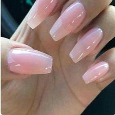 """If you're unfamiliar with nail trends and you hear the words """"coffin nails,"""" what comes to mind? It's not nails with coffins drawn on them. It's long nails with a square tip, and the look has. Pink Gel Nails, Light Pink Nails, Soft Nails, Pink Clear Nails, Ombre Nail, Polish Nails, Pink Polish, Neon Nails, Gold Polish"""