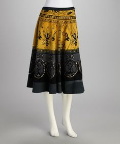 Take a look at this Yellow & Gray Filigree Sequin Skirt by Analogy on #zulily today!