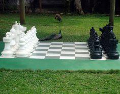 Lawn chess in Negril's garden