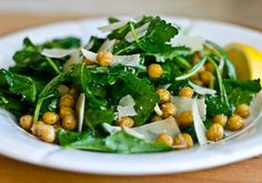 Baby Kale Salad with Lemon, Parmesan & Crispy Roasted Chickpeas.   Perfect winter salad - try with pizza tonight.