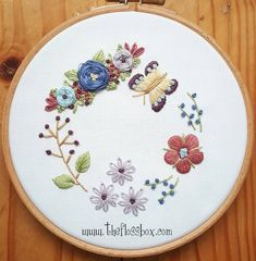 Butterfly floral embroidery. These sure are fun to do!! #embroidery #fiberart #embroideredart #needlework #stitching #etsyshop #handmade #hoopart
