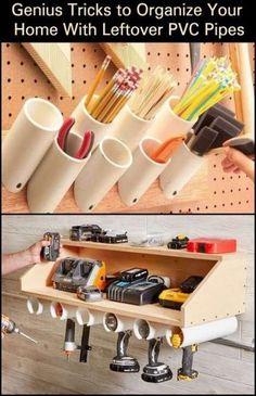 Woodworking Garage Organization PVC Pipes 32 Ideas For 2019 . - Woodworking Garage Organization PVC Pipes 32 Ideas For 2019 # ideas - Garage Tool Storage, Garage Tool Organization, Workshop Storage, Garage Tools, Woodworking Garage, Diy Storage, Woodworking Projects, Garage Ideas, Bathroom Organization
