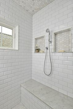 Shower niche 2013 Blanco carrara 2 in hexagonal honed marble mosiac Walls - beveled subway tile bench- cerrera marble Hall Bathroom, Upstairs Bathrooms, Bathroom Renos, White Bathroom, Family Bathroom, Bathroom Renovations, Master Bathroom, Bathroom Ideas, Bad Inspiration