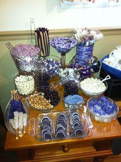 Purple candy buffet for wedding shower