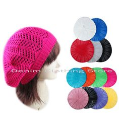 Women Summer Spring Winter Crochet Knit Slouchy Beanie Beret Cap Hat One Size #Unbranded #Beret