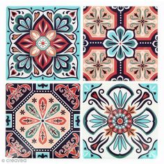Mosaic Stickers - Square - Red and turquoise - 12 x 12 cm - 4 pcs - Tiles mosaic - Les jolies NOUVEAUTES Creavea Tile Patterns, Pattern Art, Textures Patterns, Print Patterns, Pattern Design, Tile Art, Mosaic Art, Mosaic Tiles, Mundo Hippie