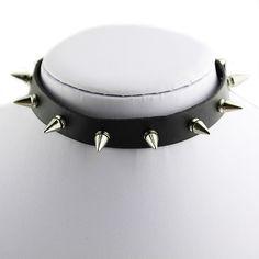 Personalized Silver Punk Spike Collar Gothic Leather Choker Necklace Cool B88U #Phoenix1900us #Choker