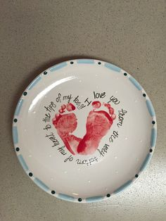 I love you from the tip of my toes footprint plate. :: Brush Strokes Pottery : Austin, TX