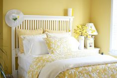 A yellow bedroom // TheFashionablyBroke.com