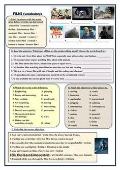 This worksheet can be helpful when you teach the topic films / movies. It consists of five different vocabulary exercises. Key is provided on page two. Hope you will use it. - ESL worksheets