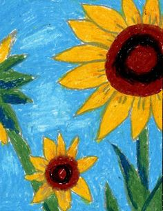 Art Projects for Kids: artist Van Gogh  Sunflowers - oil pastels