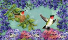 Hummingbird Nest Floormat - A beautiful welcome for your guests at your front door!  Buy at Lights in the Northern Sky www.lightsinthenorthernsky.com  $22.95