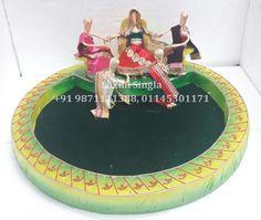 Indian Wedding Tray Rs.4800 Wedding Plates, Engagement Decorations, Wedding Crafts, Diy Decoration, Mural Art, Paper Mache, Figurative, Wedding Designs, Trays