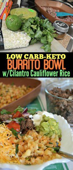 Keto Burrito Bowl with Cauliflower Cilantro Lime Rice - Keto diet recipes - Reis Rezepte Low Carb Keto, Low Carb Recipes, Diet Recipes, Healthy Recipes, Mince Recipes, Chili Recipes, Keto Vegan, Vegetarian Keto, Paleo