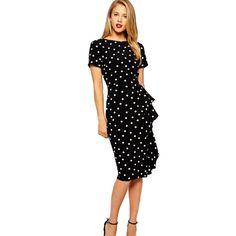 Slim Print Dots O-neck Short Sleeve Knee-length Dress
