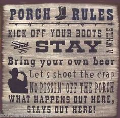 $12.99 Western-Porch-Rules-Rustic-Primitive-Country-Wood-Sign-Home-Decor