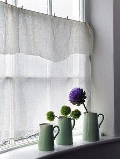 Keep it Simple: White Curtains and Natural Blinds Half Curtains, Net Curtains, Rustic Curtains, White Curtains, Hanging Curtains, Kitchen Curtains, Cottage Curtains, Layered Curtains, Kitchen Windows