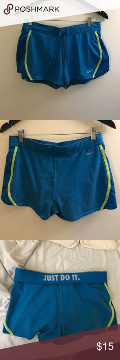 Nike Women's Shorts- Medium- Blue/Green Nike Women's Shorts- Medium- Blue/Green - Good Condition - Grey lining Nike Shorts