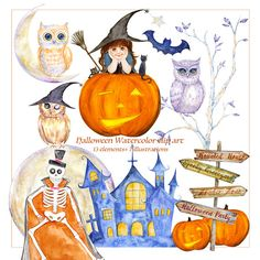 Happy Halloween Clipart Cute Witch Spooky Costume Party