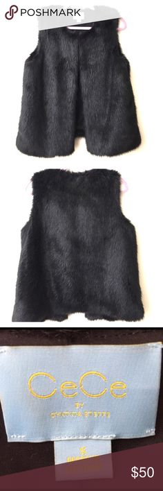 CeCe Black Faux Fur Vest **Worn Once**                                                                                        Let me know if you have any other questions! CeCe by Cynthia Steffe Jackets & Coats Vests