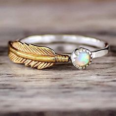 Our Mermaid Opal and Feather Ring    Find this beauty in our 'Mermaid' Collection    www.indieandharper.com