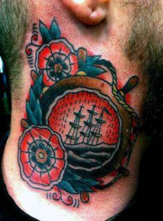 Mens Traditional Neck Ship Wheel Tattoos