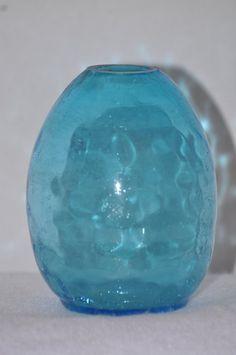 Items similar to Vintage Crackle Glass Flat Back Vase - Aquamarine on Etsy Colored Vases, Genie Bottle, Crackle Glass, Window Sill, Vintage Home Decor, Glass Vase, Etsy Shop, Lights, Bottles
