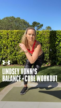 Try this balance and core home workout from Lindsey Vonn. Yoga Fitness, Fitness Tips, Lindsey Vonn, Get Moving, Still Standing, No Equipment Workout, Workout Videos, Ua, At Home Workouts